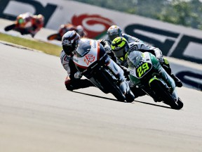 Nico Terol and Andrea Iannone in action in Brno