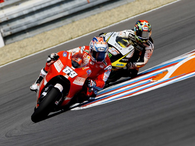 Nicky Hayden riding ahead of Colin Edwards in Brno