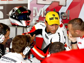 Mattia Pasini in the Pramac Racing garage at Brno Test