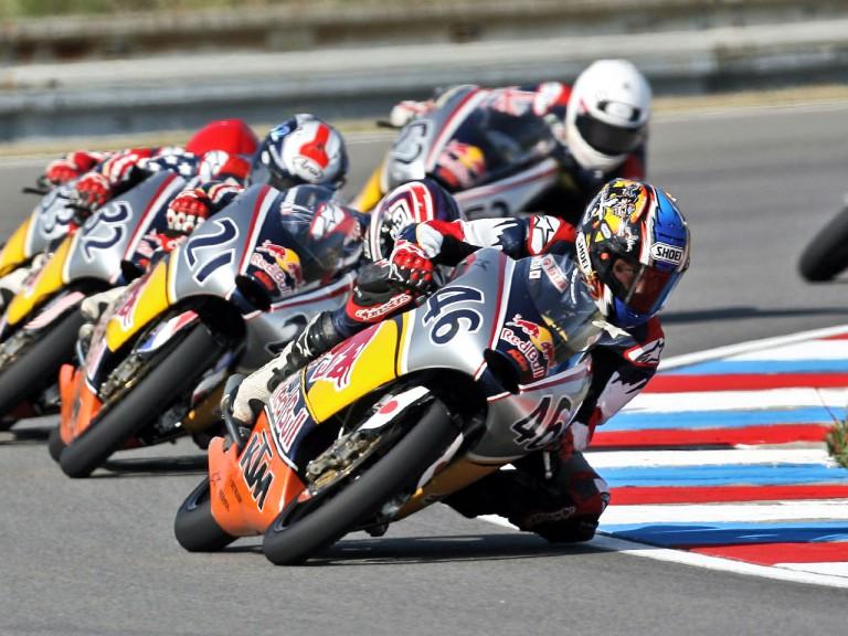 Daijiro Hiura riding ahead of Red Bull MotoGP Rookies group in Brno