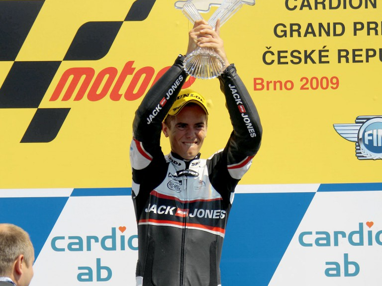 Nico Terol on the podium at Brno