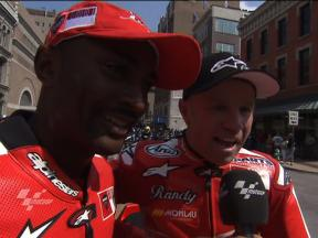 Antron Brown and Randy Mamola at Indy MotoX2 ride