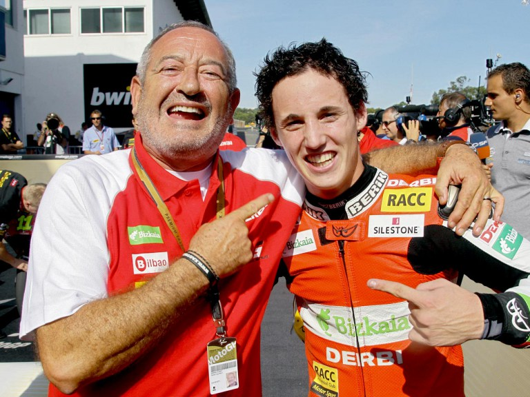 Karlos Arguiñano with Pol Espargaró after 125cc race at Estoril