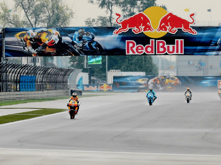 MotoGP group in action in Indianapolis