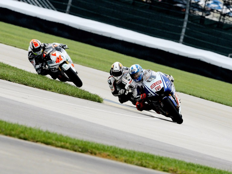 Jorge Lorenzo riding ahead of MotoGP group in Indianapolis