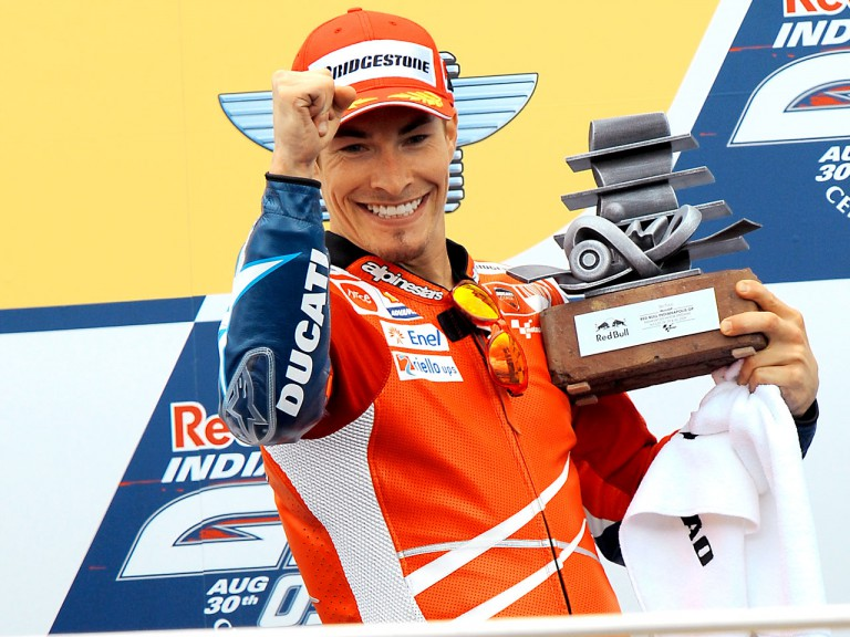 Nicky Hayden on the podium at Red Bull Indianapolis Grand Prix