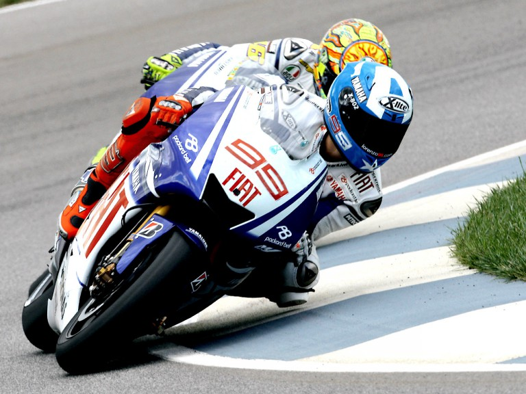 Lorenzo riding ahead of Rossi in Indianapolis