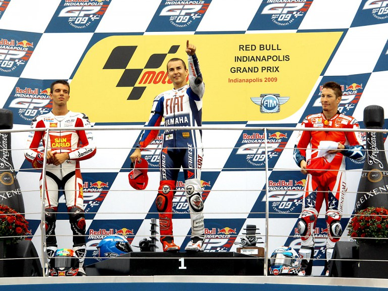 De Angelis, Lorenzo and Hayden on the podium at the Red Bull Indianapolis Grand Prix