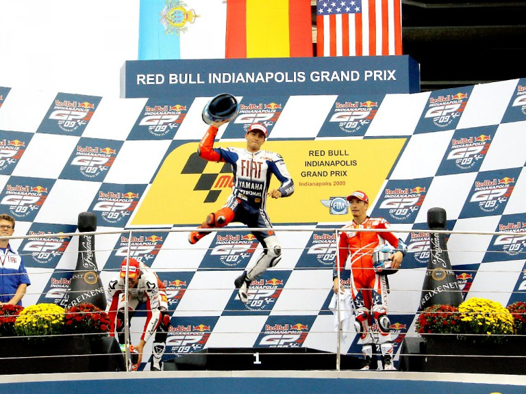 Jorge Lorenzo celebrates GP win at the Red Bull Indianapolis Grand Prix