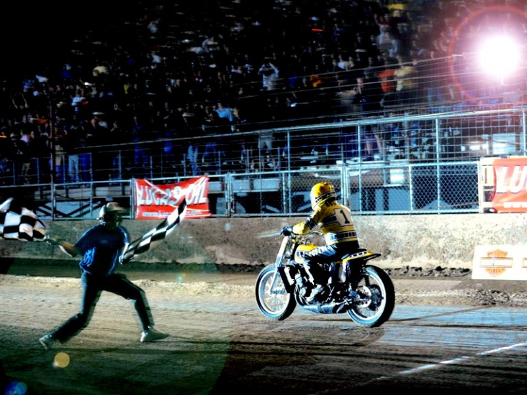 Kenny Roberts Sr. at the Indy Mile Flat Track race