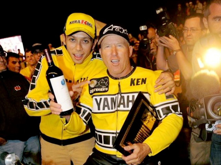Rossi and Kenny Roberts Sr. at the Indy Mile Flat Track race