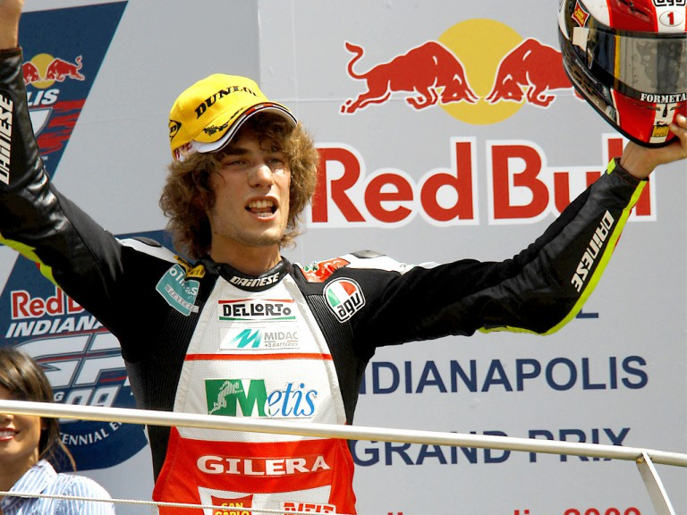 Marco Simoncelli on the podium at Indianapolis