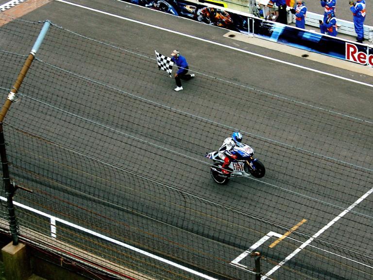 Jorge Lorenzo celebrates GP win at Indianapolis