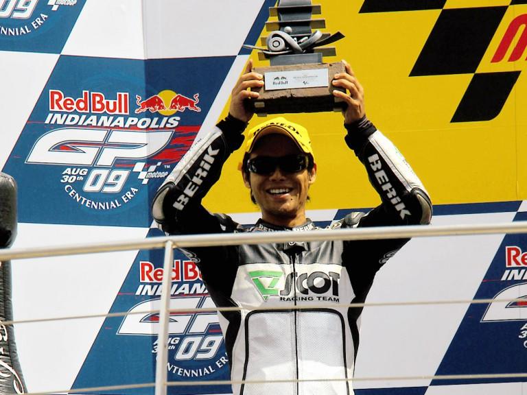 Hiroshi Aoyama on the podium at Indianapolis