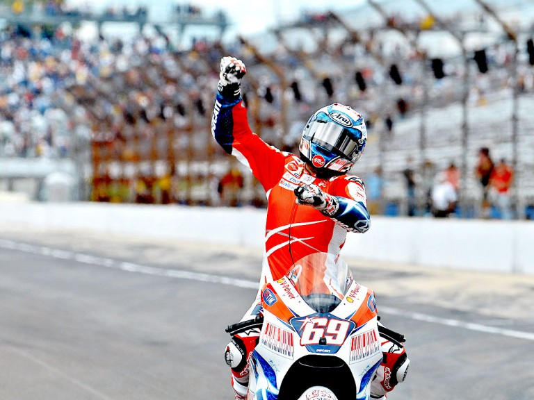 Nicky Hayden celebrates GP win at Indianapolis