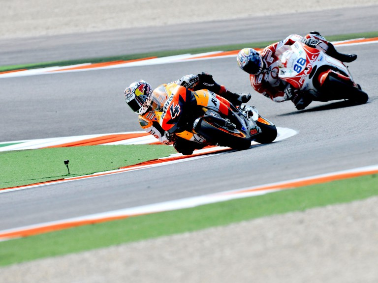 Andrea Dovizioso riding ahead of Niccoló Cànepa in Misano