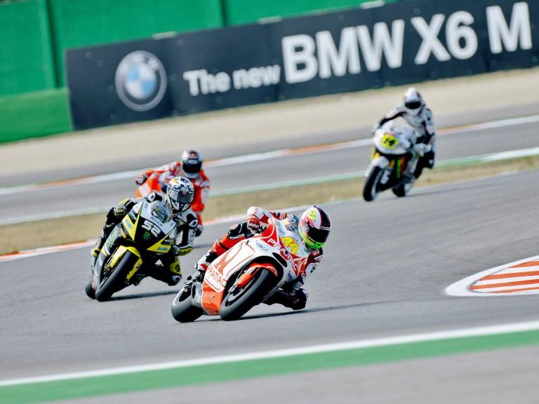 Aleix Espargaró riding ahead of MotoGP group in Misano