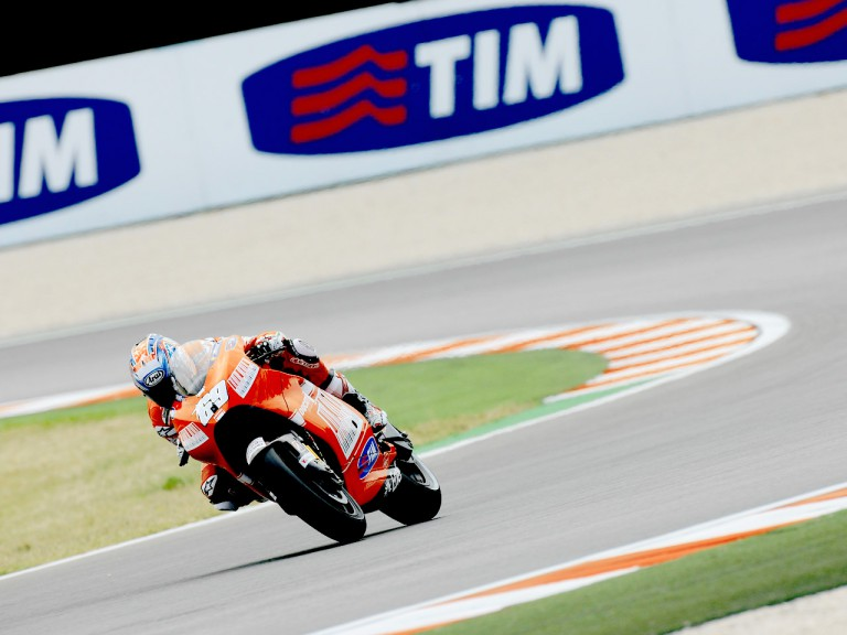 Nicky Hayden in action in Misano