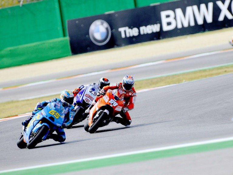 Capirossi, Hayden and Lorenzo in action in Misano