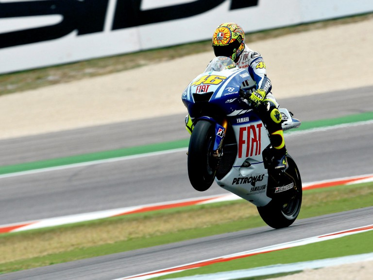 Valentino Rossi pulls of a wheelie in Misano