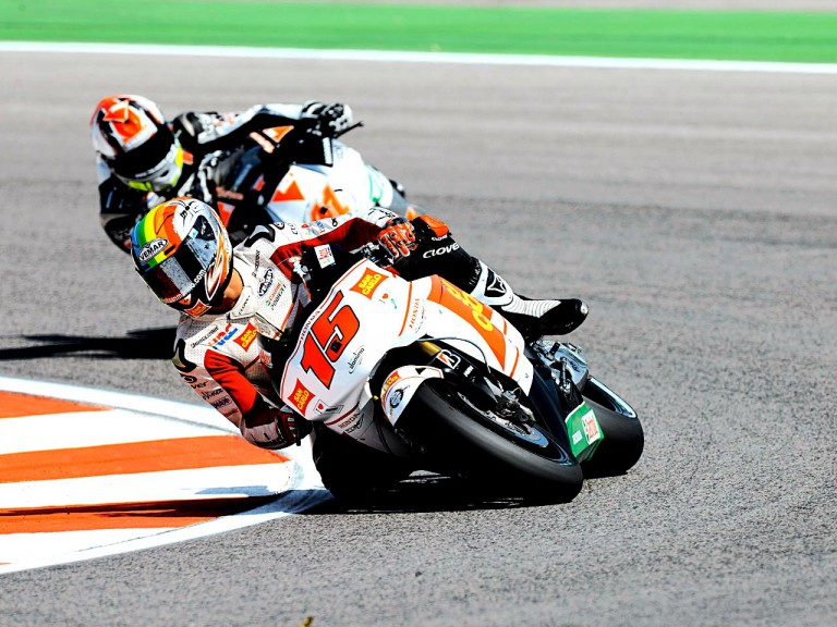 Alex de Angelis riding ahead of Gabor Talmacsi in Misano