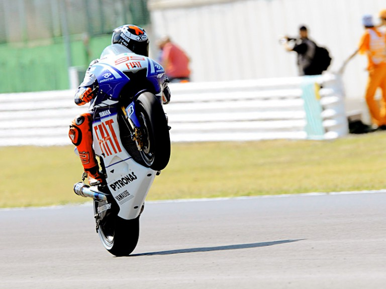 Jorge Lorenzo pulls off a wheelie in Misano