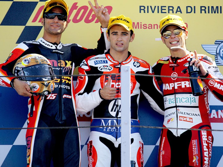 Pasini, Barberá and Bautista on the podium at Misano