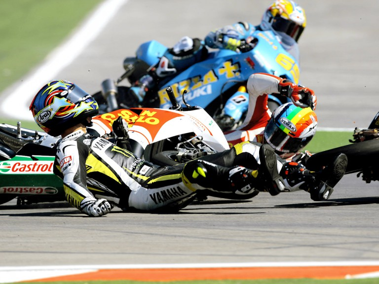 Edwards and De Angelis crash during MotoGP race at Misano