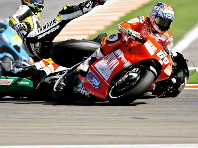 Hayden, Edwards and De Angelis crash during MotoGP race at Misano