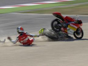 Pol Espargaro and Andrea Iannone crash during race in Misano