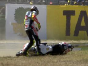Marco Simoncelli crash during race in Misano