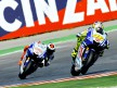 Rossi riding ahead of Lorenzo in Misano