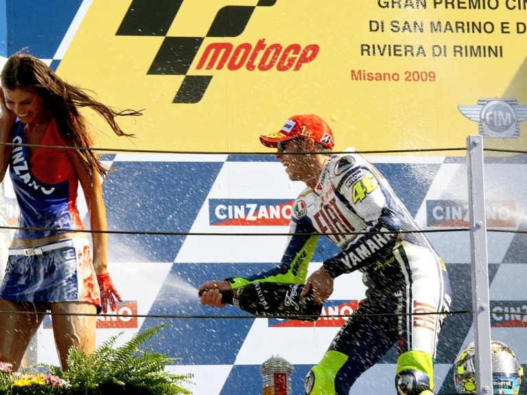 Valentino Rossi celebrates podium in Misano