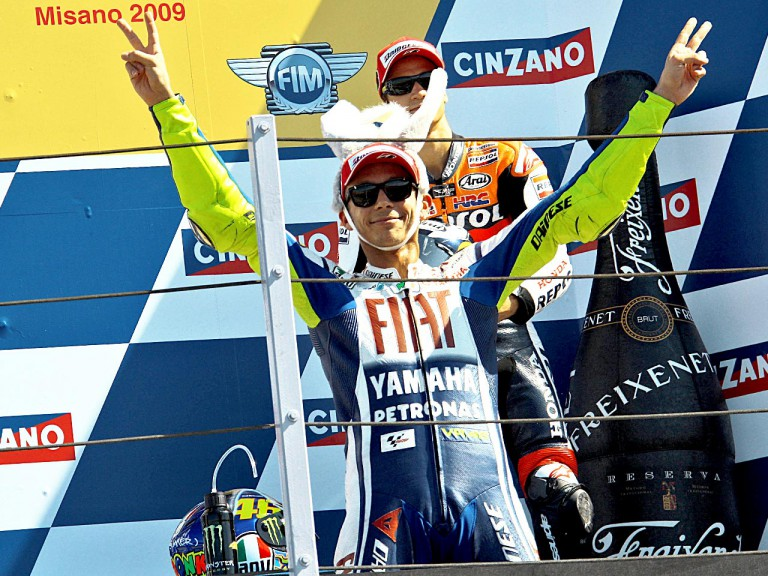 Valentino Rossi celebrates GP win at Misano