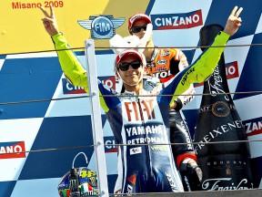 Valentino Rossi celebrates GP win at Misano