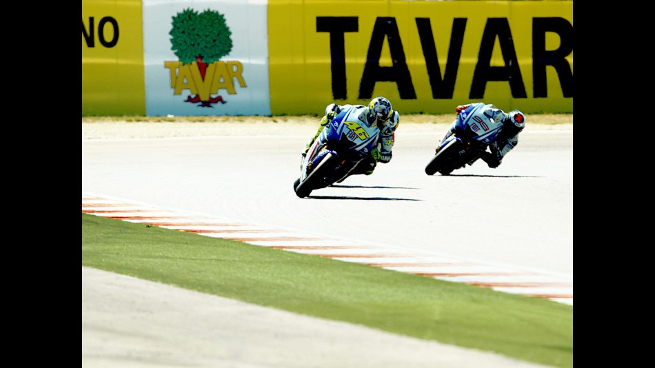 Rossi riding ahead of Pedrosa and Lorenzo in Misano