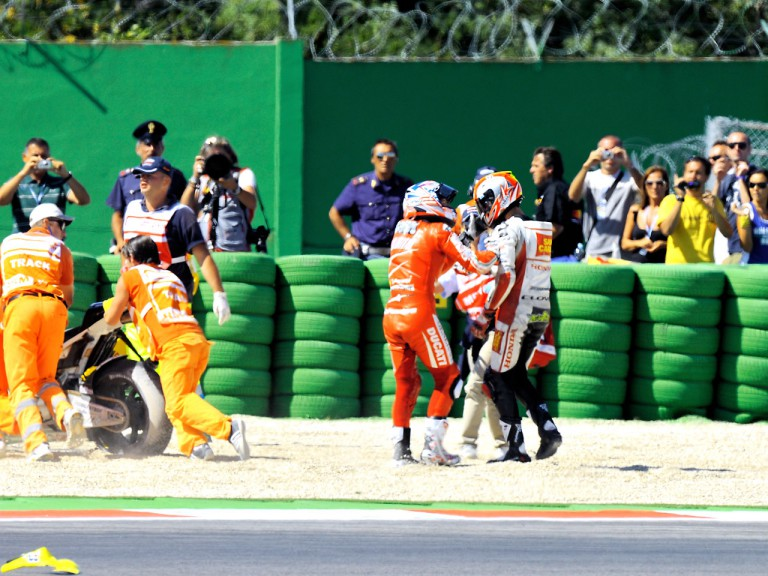 Hayden and De Angelis after crash in MotoGP race at Misano