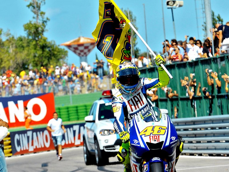 Rossi celebrates GP win in Misano