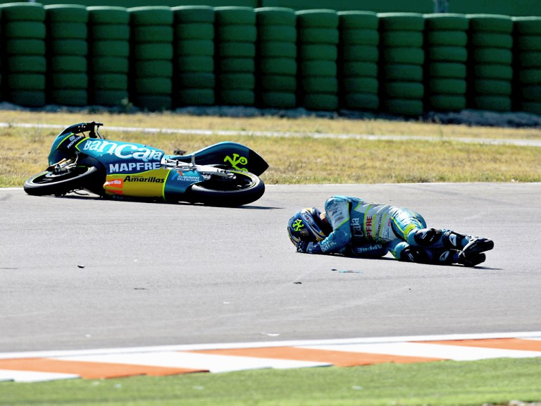 Sergio Gadea after cras during 125cc race in Misano