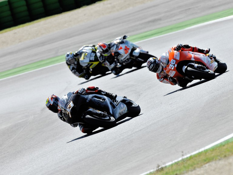 Melandri riding ahead of Kallio, Talmacsi and Toseland in Misano
