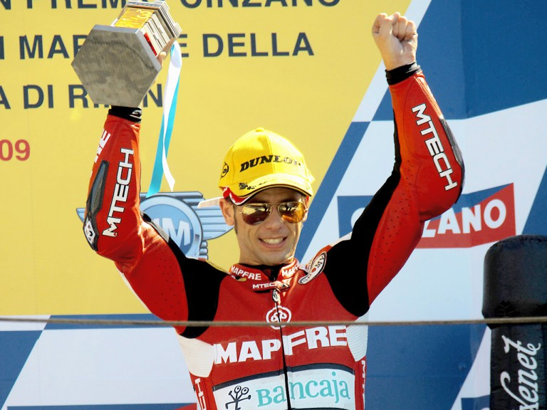 Álvaro Bautista on the podium at Misano