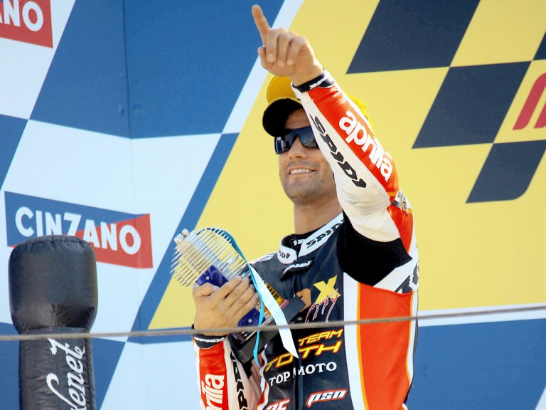 Mattia Pasini on the podium at Misano