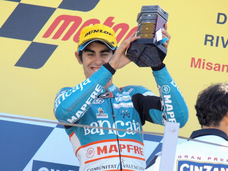 Julián Simón on the podium at Misano