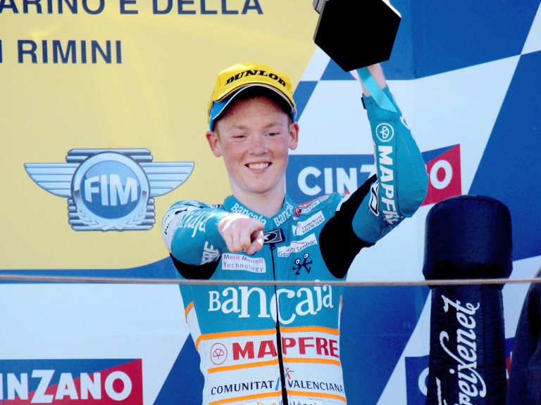 Bradley Smith on the podium at Misano