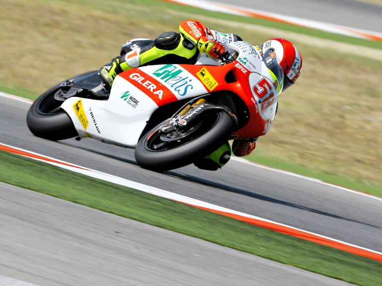 Marco Simoncelli in action in Misano