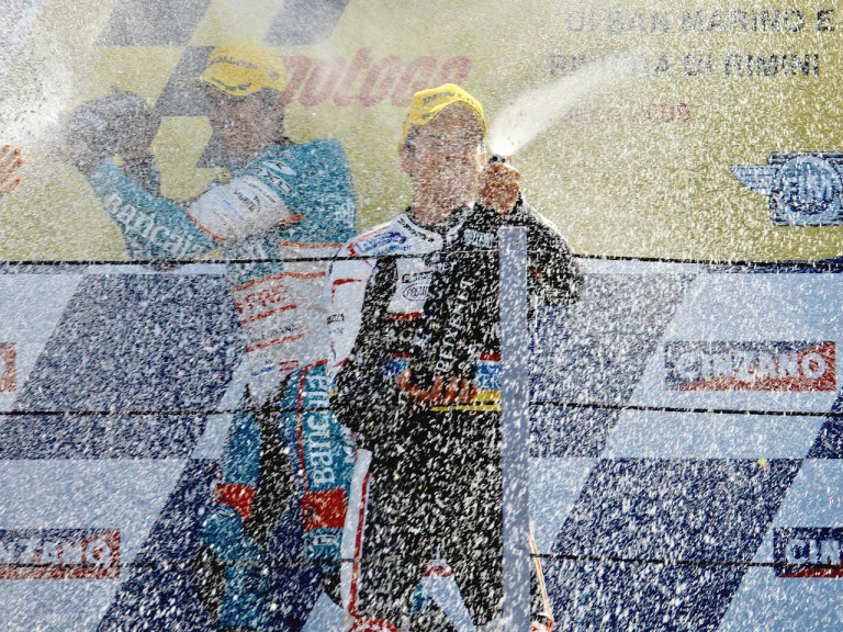 Nico Terol on the podium at Misano