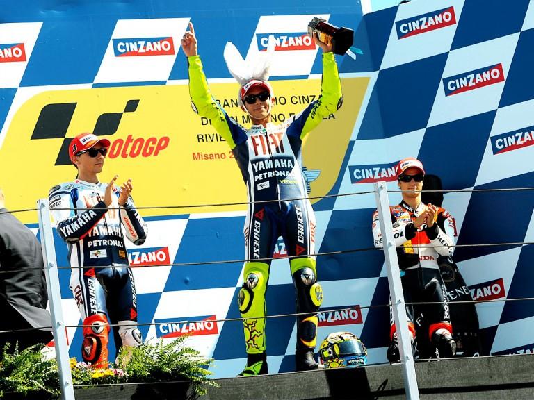 Lorenzo, Pedrosa an Rossi on the podium at Misano