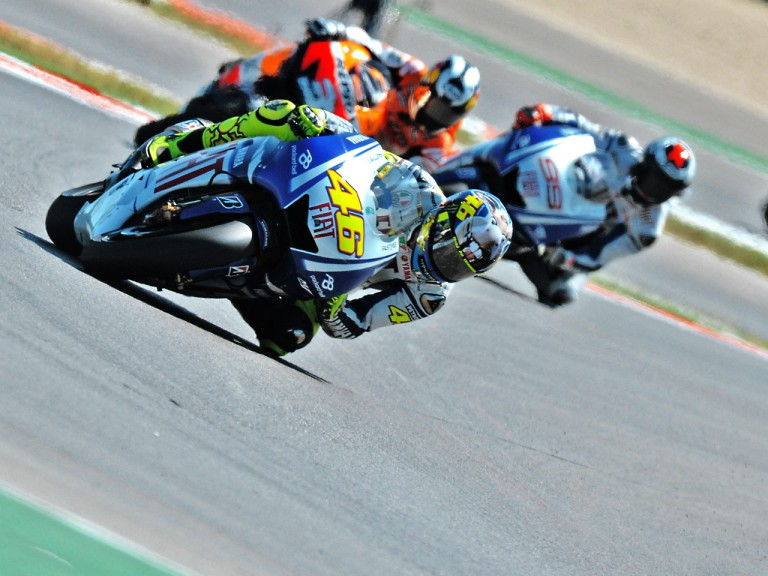 Rossi, Pedrosa and Lorenzo in action in Misano