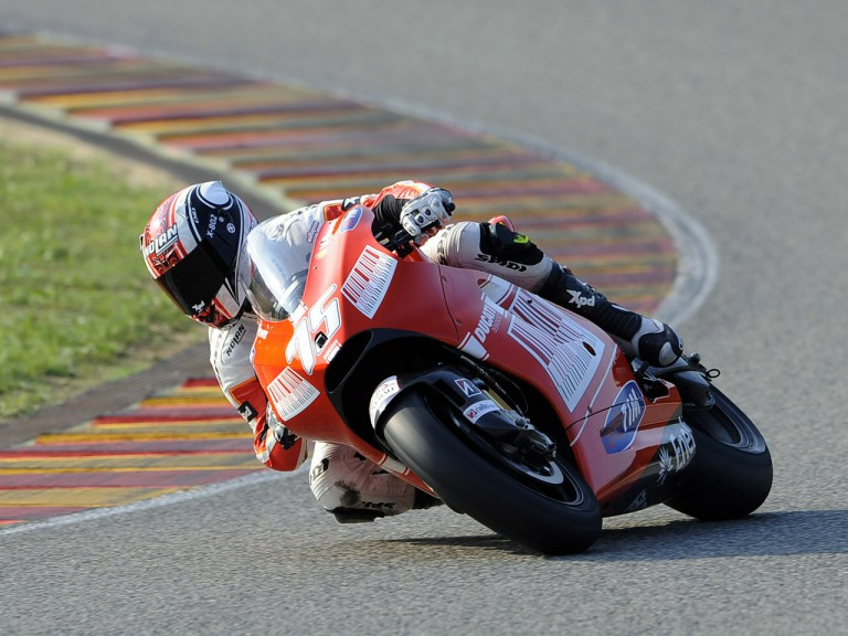 Mattia Pasini testing the Ducati Marlboro Desmosedici GP9 at the Mugello circuit
