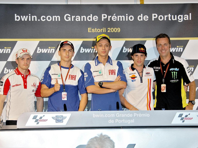 Kallio, Lorenzo, Rossi, Dovizioso and Poncharal in the press conference at Estoril